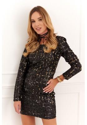 Elegantné šaty s flitrami a dlhým rukávom, čiernozlaté