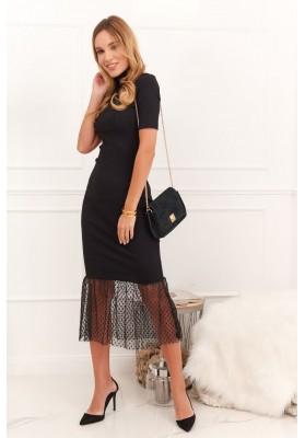 Príležitostné rolákové šaty s volánovým vsadením na spodnom okraji, čierne