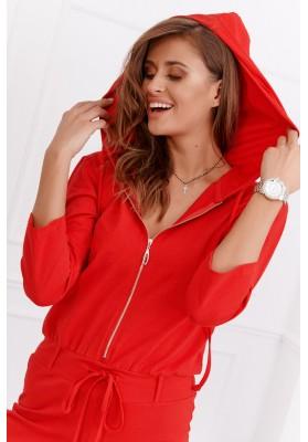 Dámsky bavlnený overal s kapucňou, červený