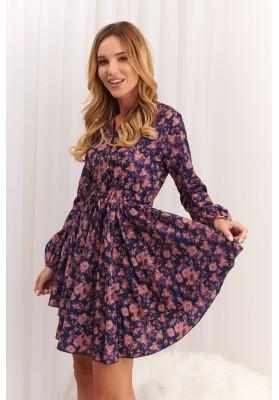 Asymetrické šaty so zaujímavou potlačou, fialové