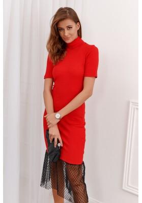 Príležitostné rolákové šaty s volánovým vsadením na spodnom okraji, červené