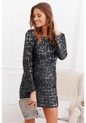 Elegantné šaty s flitrami a dlhým rukávom, čiernostrieborné