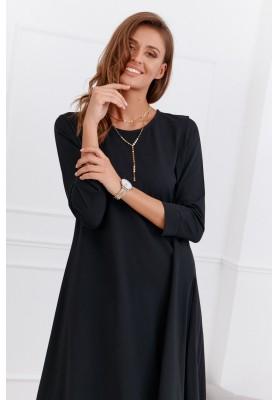 Asymetrické neformálne bavlnené šaty, čierne