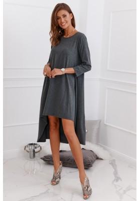 Asymetrické neformálne bavlnené šaty, šedé