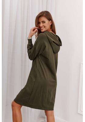 Neformálne moderné šaty s kapucňou, khaki
