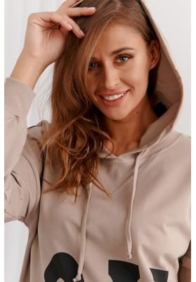 Neformálne moderné šaty s kapucňou, béžové