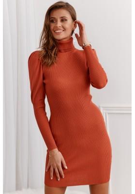 Vrúbkované šaty s rolákovým golierom, oranžové