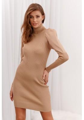 Vrúbkované šaty s rolákovým golierom, béžové