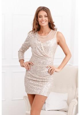 Pôsobivé béžové šaty s polyestru