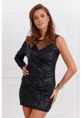 Pôsobivé čierne šaty s polyestru