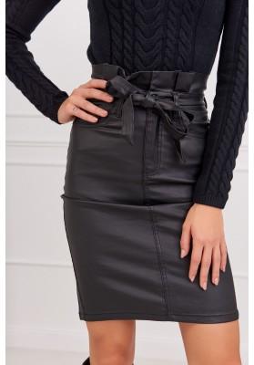 Puzdrová čierna sukňa nad kolená s viazaním v páse