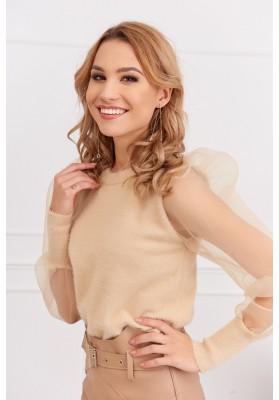 Krátky dámsky sveter s priehľadnými rukávmi, béžový