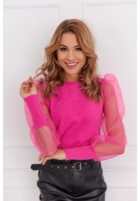 Krátky dámsky sveter s priehľadnými rukávmi, ružový