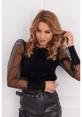 Krátky dámsky sveter s priehľadnými rukávmi, čierny