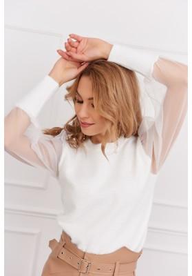 Krátky dámsky sveter s priehľadnými rukávmi, krémový