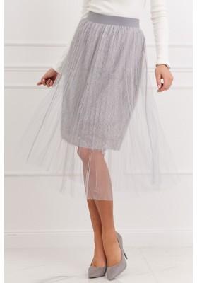 Pôsobivá tylová sukňa, sivá