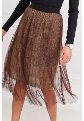 Pôsobivá tylová sukňa, hnedá