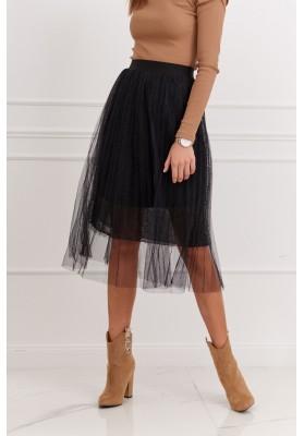 Pôsobivá tylová sukňa, čierna