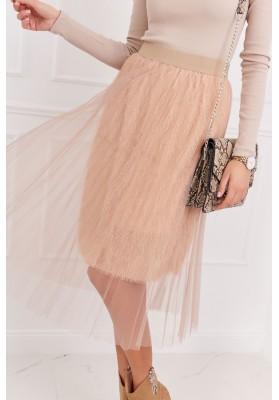 Pôsobivá tylová sukňa, béžová