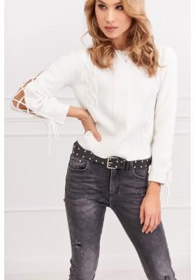 Dámsky krátky sveter s dlhým rukávom, biely