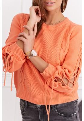 Dámsky krátky sveter s dlhým rukávom, oranžový