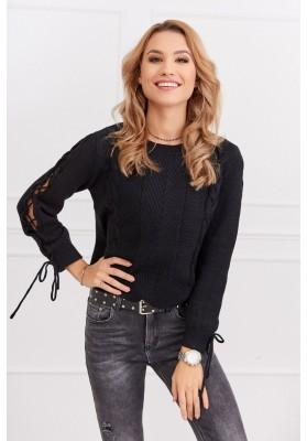 Dámsky krátky sveter s dlhým rukávom, čierny
