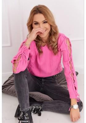 Dámsky krátky sveter s dlhým rukávom, ružový