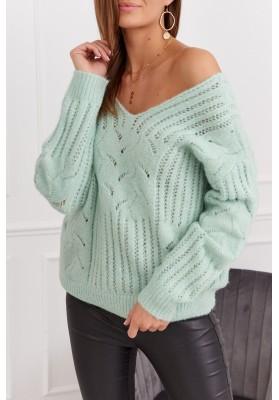 Teplý dámsky sveter s prelamovaným vzorom, zelený