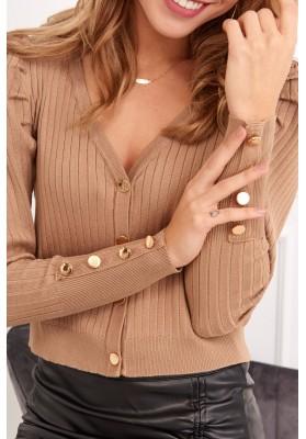 Tenký dámsky sveter so zapínaním na gombíky, svetlohnedý
