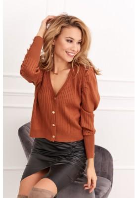 Tenký dámsky sveter so zapínaním na gombíky, hnedý