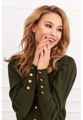 Tenký dámsky sveter so zapínaním na gombíky, zelený