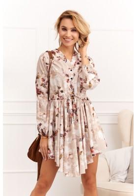 Asymetrické šaty so zaujímavou potlačou, béžové