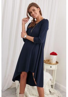 Asymetrické neformálne bavlnené šaty, modré
