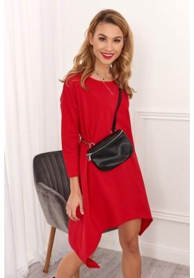 Asymetrické ležérne šaty, červené