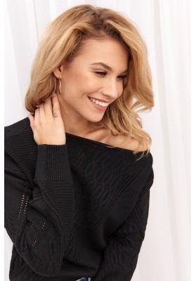 Dámsky sveter s azúrovým vzorom, čierny