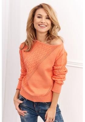 Dámsky sveter s azúrovým vzorom, oranžový
