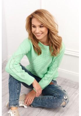 Dámsky sveter s azúrovým vzorom, zelený