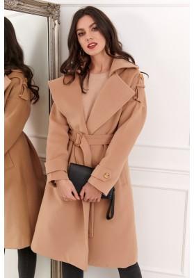 Dlhý dámsky kabát s opaskom, béžový