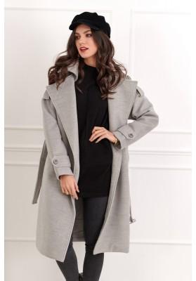 Długi płaszcz damski z paskiem szary 1730