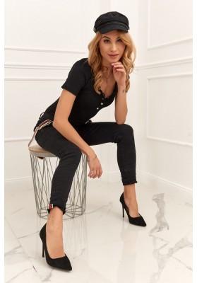 Dámske nohavice s ozdobnými trakmi, čierne