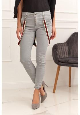 Dámske nohavice s ozdobnými trakmi, sivé