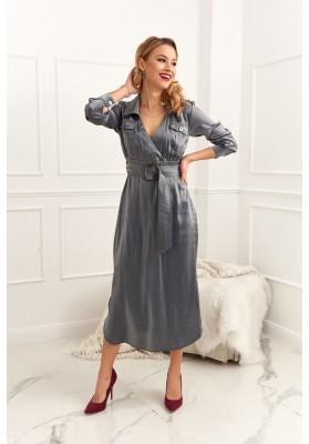 Midi šaty zavinovacieho vzhľadu s opaskom, sivé