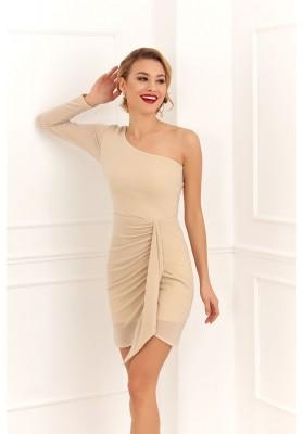 Asymetrické šaty na jedno rameno, béžové
