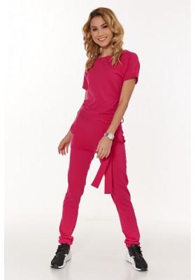 Dámsky štýlový overal s krátkym rukávom a viazaním v páse, ružový