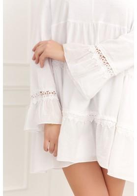 Vzdušné, oversize biele šaty/tunika s dlhým rukávom