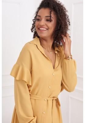 Neformálne medové šaty s golierom