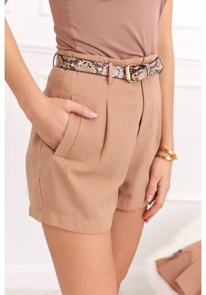 Elegantné šortky s vysokým pásom a opaskom, béžové