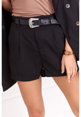 Elegantné šortky s vysokým pásom a opaskom, čierne