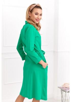 Bavlnené šaty s dĺžkou nad kolená a dlhým rukávom, zelené