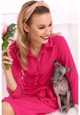 Bavlnené šaty s dĺžkou nad kolená a dlhým rukávom, ružové